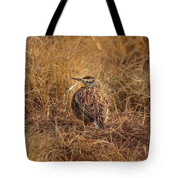 Meadowlark Hiding In Grass Tote Bag