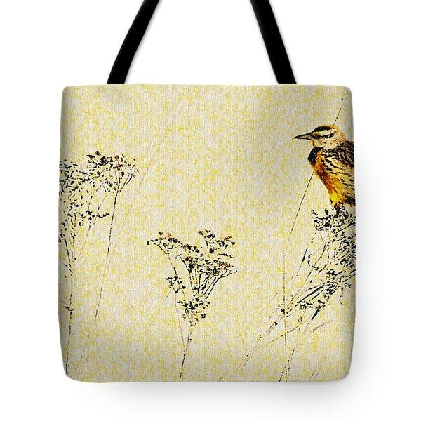 Meadowlark In Kansas Prairie 1 Tote Bag