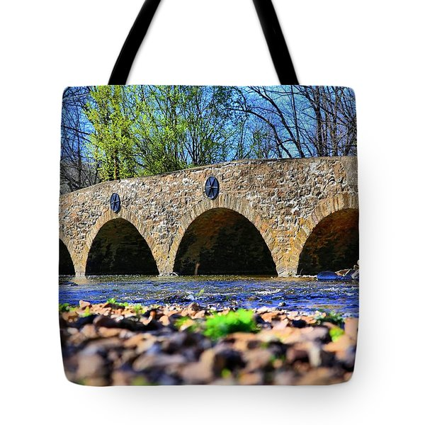 Tote Bag featuring the photograph Meadows Road Bridge by DJ Florek