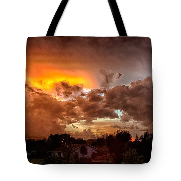 Tote Bag featuring the photograph Mean Skies From Off My Deck  by Ricky L Jones