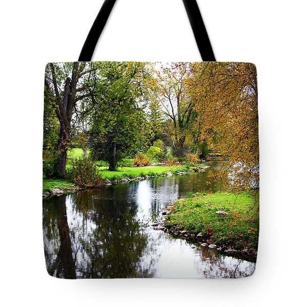 Meandering Creek In Autumn Tote Bag