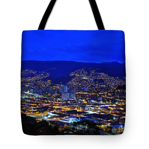 Medellin Colombia At Night Tote Bag