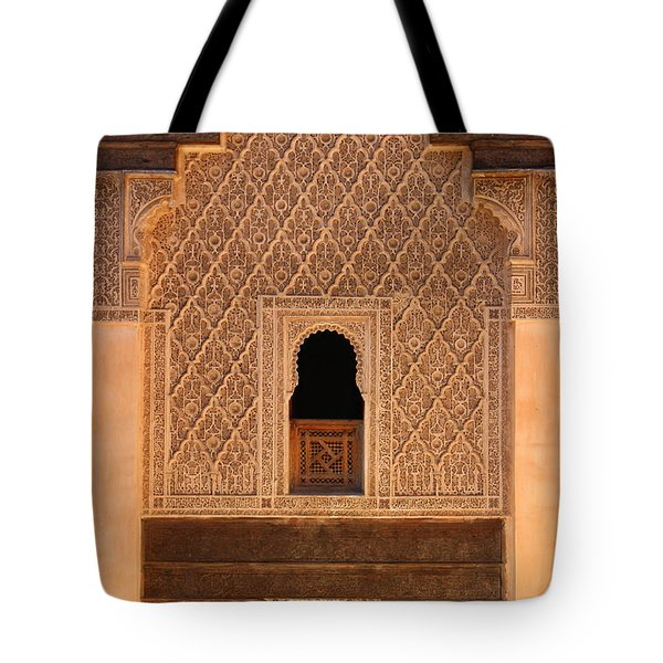 Tote Bag featuring the photograph Medersa Ben Youssef by Ramona Johnston
