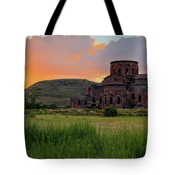 Mediaval Talin's Cathedral At Sunset With Cross Stone In Front, Armenia Tote Bag