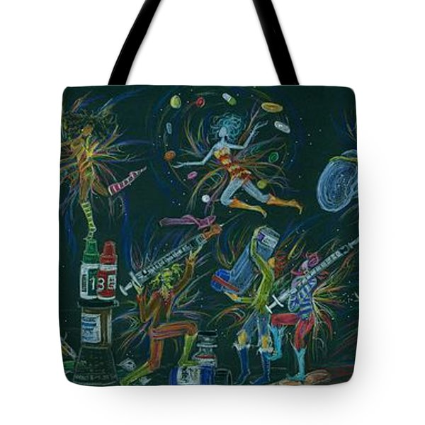 Tote Bag featuring the drawing Medication Room Fairies by Dawn Fairies