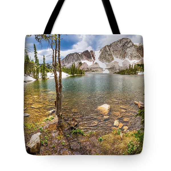 Medicine Bow Snowy Mountain Range Lake View Tote Bag