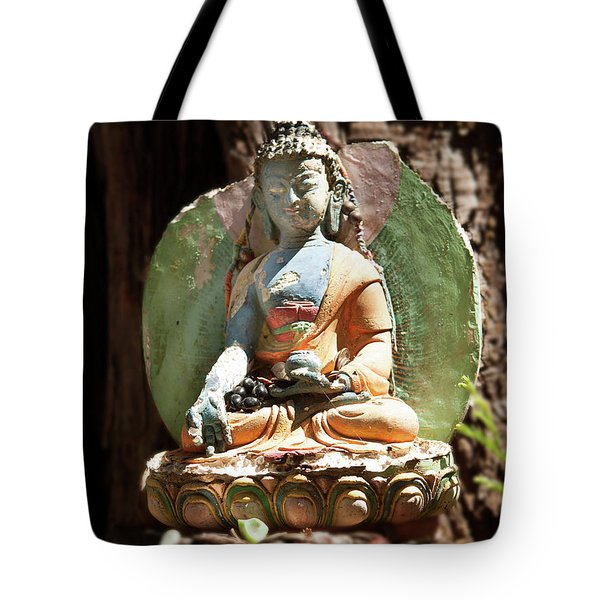 Tote Bag featuring the photograph Medicine Buddha With Offerings by Carol Lynn Coronios