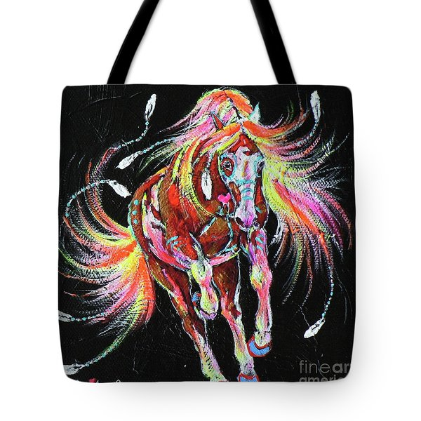 Medicine Fire Pony Tote Bag by Louise Green