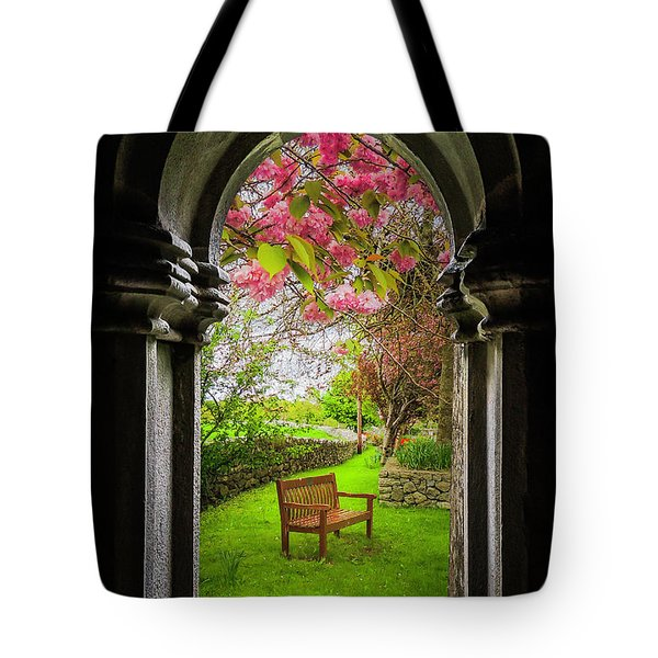 Tote Bag featuring the photograph Medieval Abbey In Irish Spring by James Truett