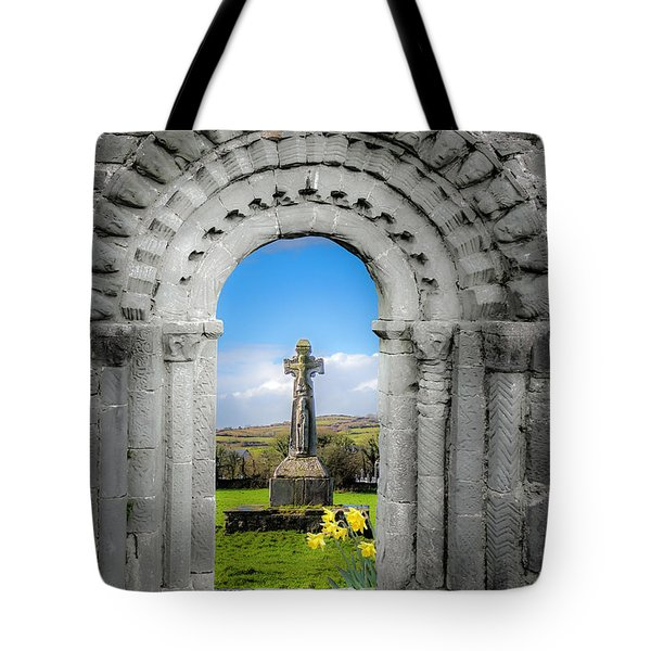 Medieval Arch And High Cross, County Clare, Ireland Tote Bag