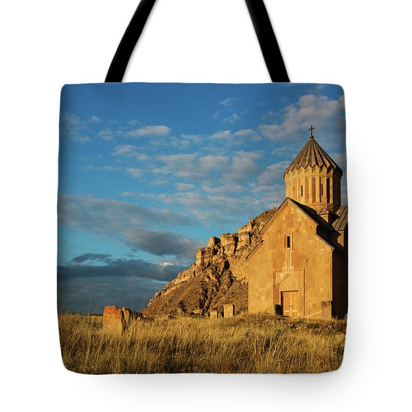 Medieval Areni Church Under Puffy Clouds, Armenia Tote Bag