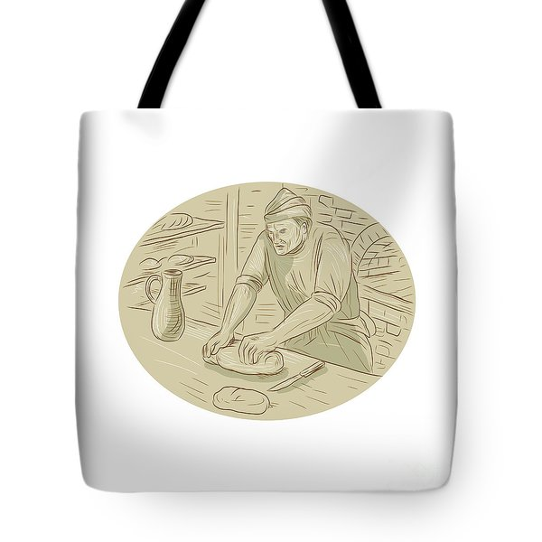 Medieval Baker Kneading Bread Dough Oval Drawing Tote Bag