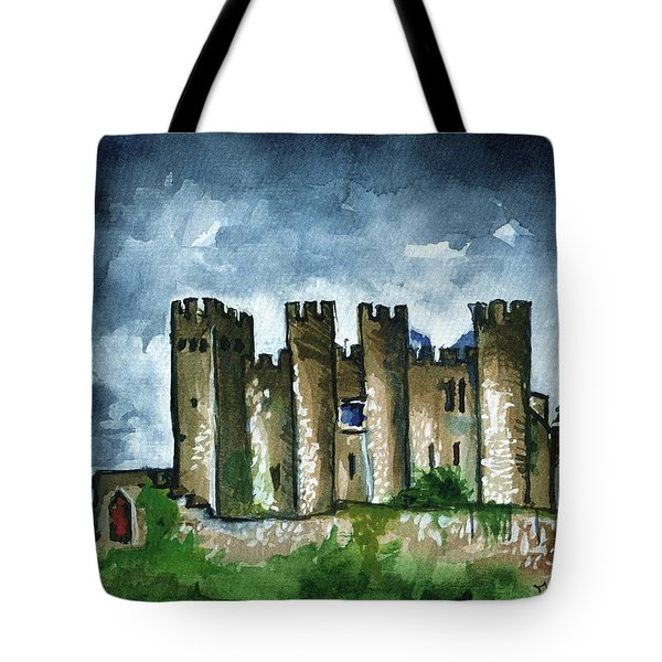 Tote Bag featuring the painting Medieval Castle Before Storm by Dora Hathazi Mendes