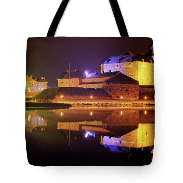 Medieval Castle By The Lake At Night Tote Bag by Teemu Tretjakov