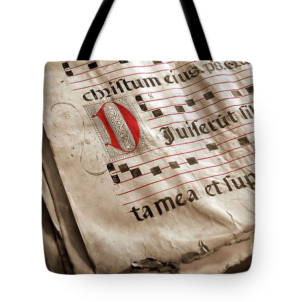 Medieval Choir Book Tote Bag by Carlos Caetano