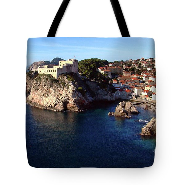 Medieval Fortresses Lovrijenac And Bokar Dubrovnik Tote Bag by Jasna Dragun