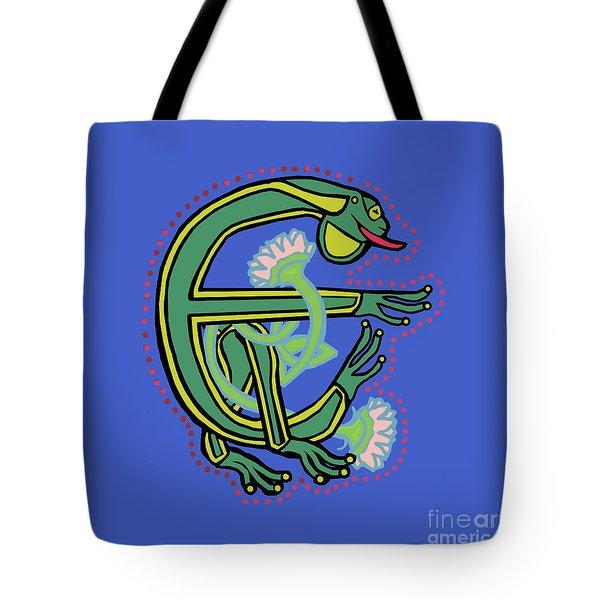 Medieval Frog Letter E Tote Bag by Donna Huntriss