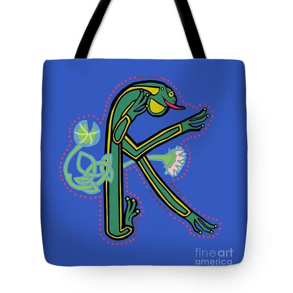 Medieval Frog Letter K Tote Bag by Donna Huntriss