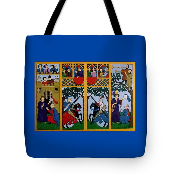 Tote Bag featuring the painting Medieval Scene by Stephanie Moore