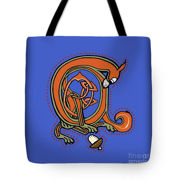 Medieval Squirrel Blue A Tote Bag