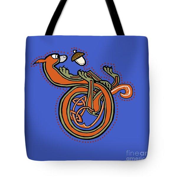 Medieval Squirrel Letter D Blue Tote Bag