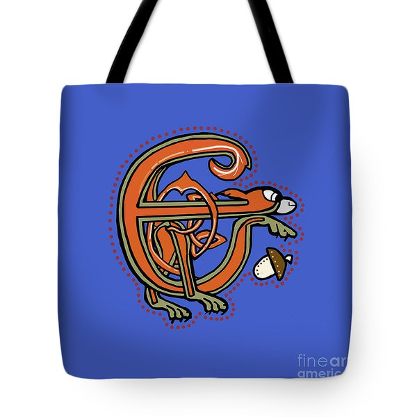 Medieval Squirrel Letter E Tote Bag