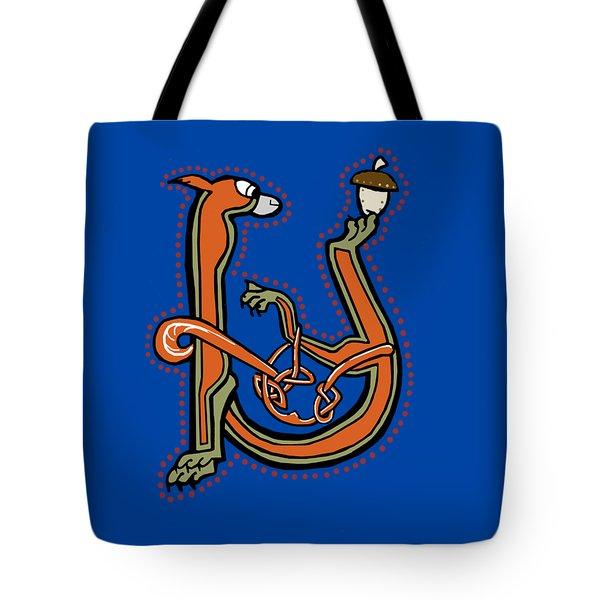 Medieval Squirrel Letter U Tote Bag