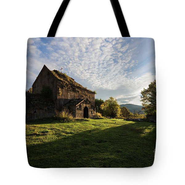 Medieval Tezharuyk Monastery During Amazing Sunrise, Armenia Tote Bag