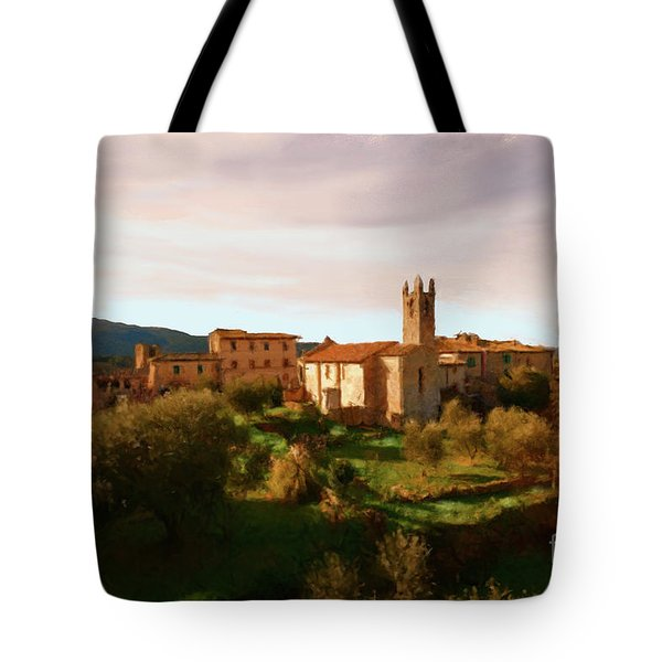 Tote Bag featuring the painting Medieval Tuscany by Rosario Piazza