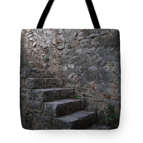 Medieval Wall Staircase Tote Bag by Angelo DeVal