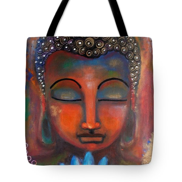 Tote Bag featuring the painting Meditating Buddha With A Blue Lotus by Prerna Poojara
