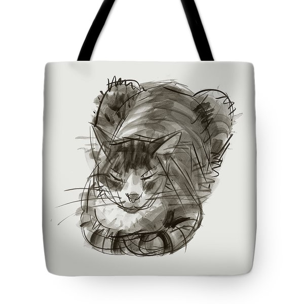 Tote Bag featuring the painting Meditating Cat by Judith Kunzle