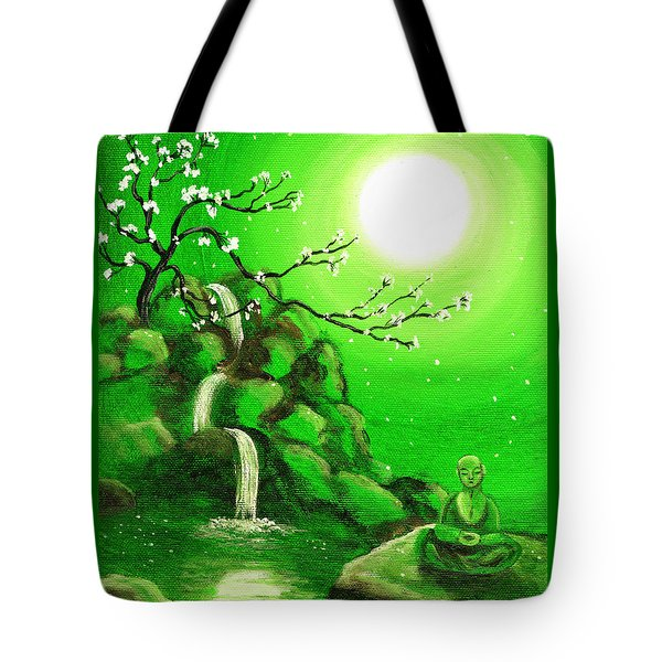 Meditating While Cherry Blossoms Fall In Green Tote Bag by Laura Iverson