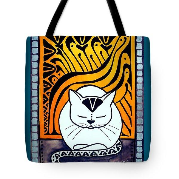 Meditation - Cat Art By Dora Hathazi Mendes Tote Bag by Dora Hathazi Mendes
