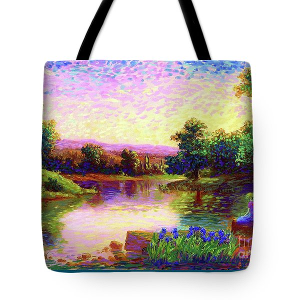 Tote Bag featuring the painting  Meditation, Just Be by Jane Small