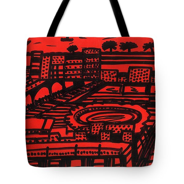Tote Bag featuring the drawing Mediterranean City by Don Koester