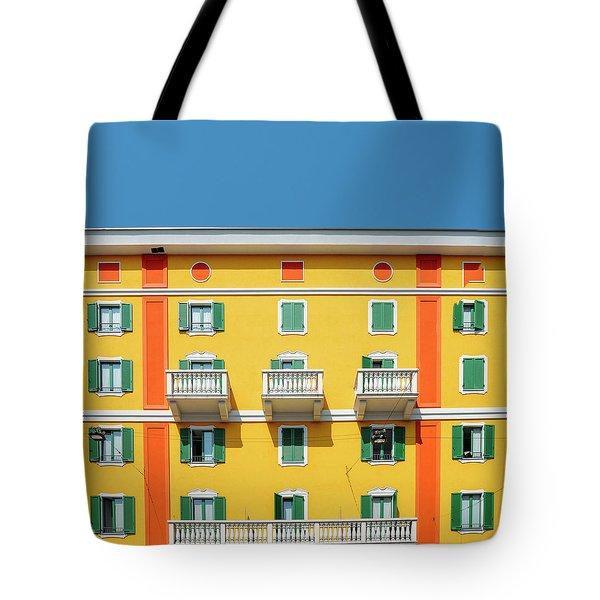 Mediterranean Colours On Building Facade Tote Bag