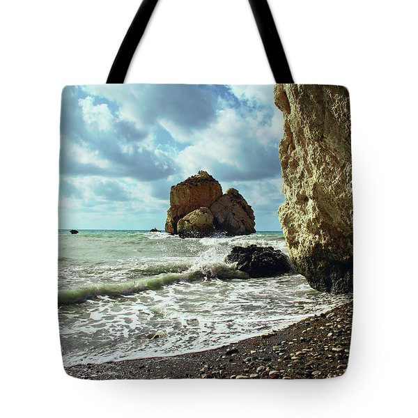 Mediterranean Sea, Pebbles, Large Stones, Sea Foam - The Legendary Birthplace Of Aphrodite Tote Bag