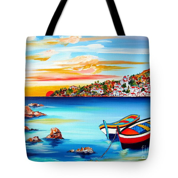 Mediterranean Sunset With Boats Tote Bag