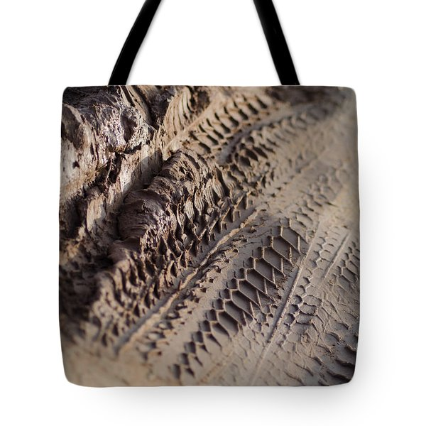 Medium Cu Motorcycle And Car Tracks In Mud Tote Bag by Jason Rosette