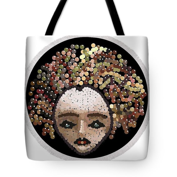 Medusa Bedazzled Round Beach Towel Tote Bag by R  Allen Swezey