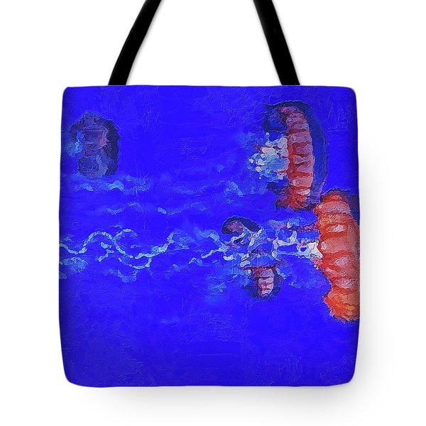 Tote Bag featuring the digital art Medusas Jellyfishes by PixBreak Art