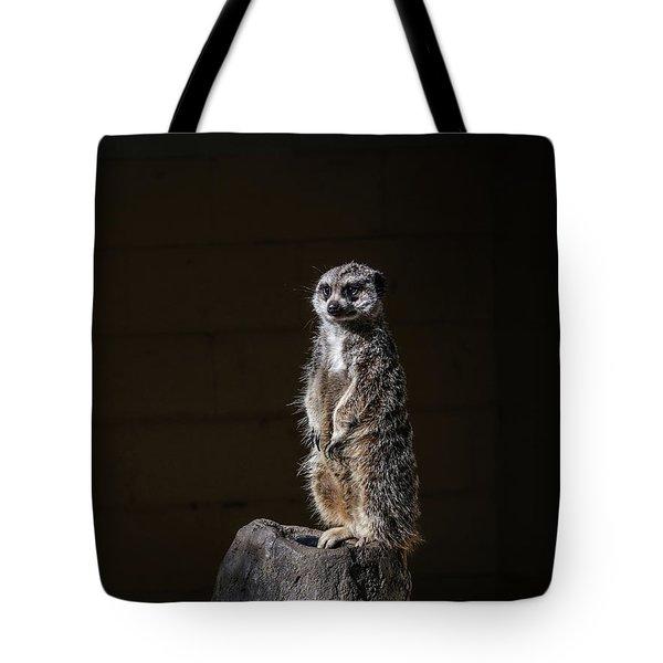 Tote Bag featuring the digital art Meerkat by Kathleen Illes