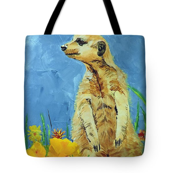 Tote Bag featuring the painting Meerly Curious by Tom Riggs