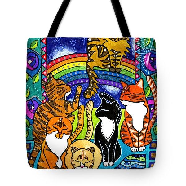 Meet Me At The Rainbow Bridge - Cat Painting Tote Bag