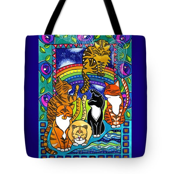 Meet Me At The Rainbow Bridge - Cat Painting Tote Bag