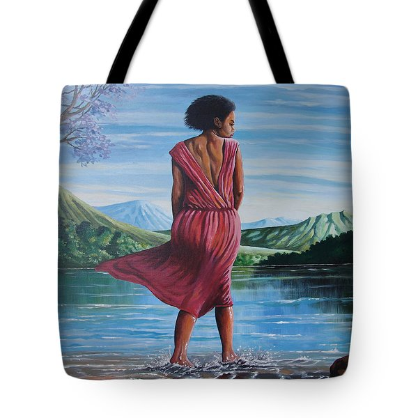 Tote Bag featuring the painting Meet Me At The River by Anthony Mwangi