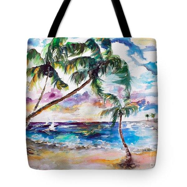 Tote Bag featuring the painting Meet Me On Bimini Island Bahamas by Ginette Callaway