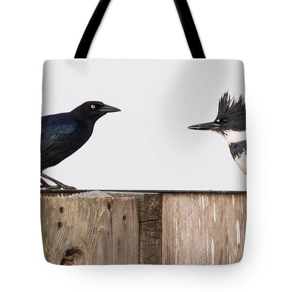 Meeting Beak To Beak Tote Bag
