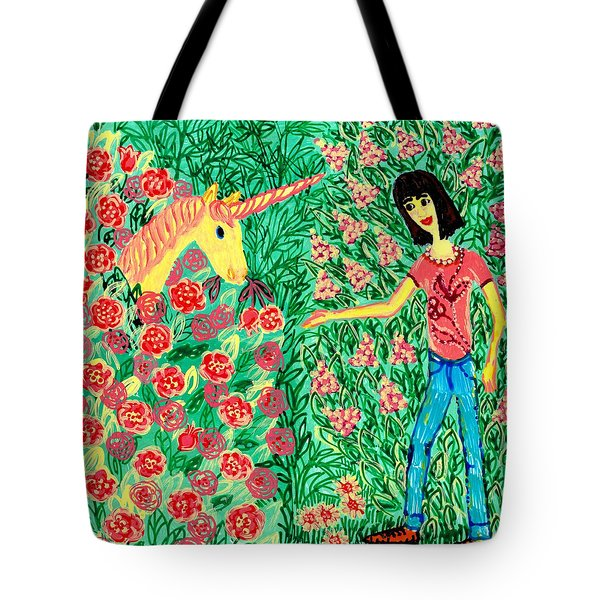 Meeting In The Rose Garden Tote Bag by Sushila Burgess